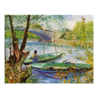 Van Gogh Fishing in the Spring Vintage Fine Art Personalized Invite