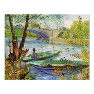 Van Gogh Fishing in the Spring, Vintage Fine Art 11 Cm X 14 Cm Invitation Card