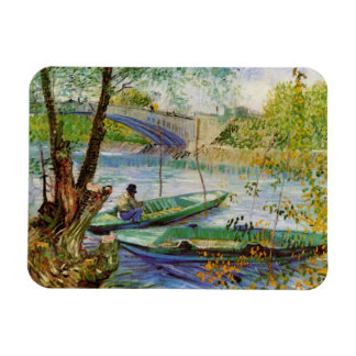 Van Gogh Fishing in the Spring, Vintage Fine Art Rectangular Photo Magnet