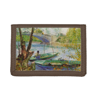 Van Gogh Fishing in the Spring, Vintage Fine Art Tri-fold Wallets