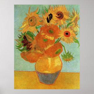 Van Gogh Flower Art, Vase with 12 Sunflowers Poster
