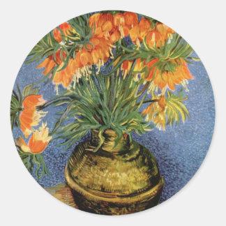 Van Gogh flower painting Round Sticker