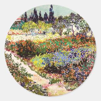 Van Gogh Flowering Garden At Arles Floral Fine Art Round Sticker