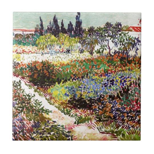 Van Gogh Flowering Garden At Arles Floral Fine Art Small Square Tile