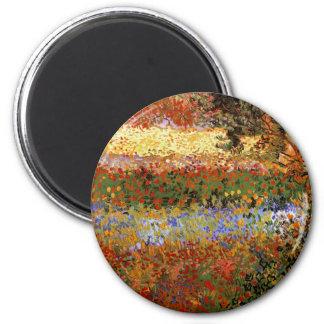 Van Gogh Flowering Garden (F430) Fine Art 6 Cm Round Magnet