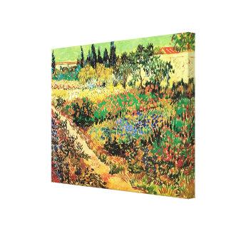 Van Gogh Flowering Garden Path, Vintage Farm Stretched Canvas Print