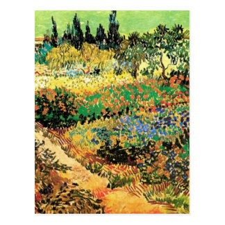 Van Gogh Flowering Garden Path, Vintage Fine Art Postcard