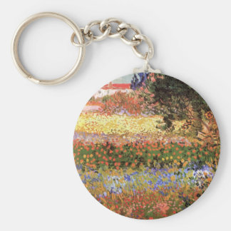 Van Gogh Flowering Garden, Vintage Floral Fine Art Key Ring