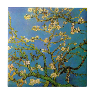 Van Gogh Flowers Art, Blossoming Almond Tree Small Square Tile