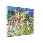 Van Gogh Flowers Art, Blossoming Chestnut Branches Stretched Canvas Print