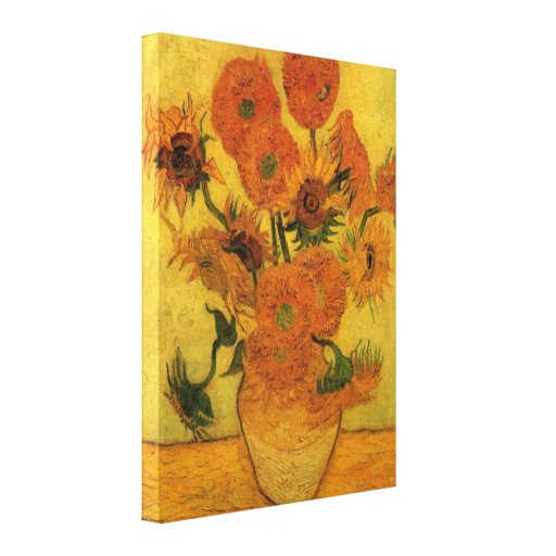 Van Gogh Flowers Art, Vase with 15 Sunflowers Canvas Prints