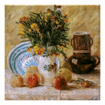 Van Gogh Flowers, Coffeepot and Fruit Poster