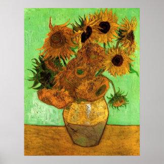 Van Gogh Flowers, Still Life Vase w 12 Sunflowers Posters