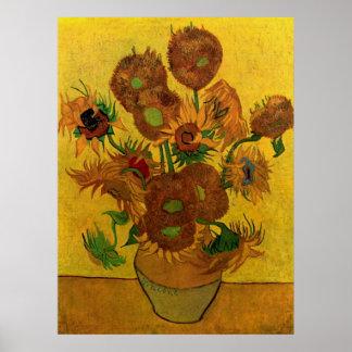Van Gogh Flowers, Vase with 15 Sunflowers Print