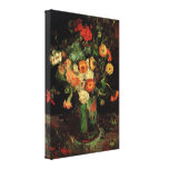Van Gogh Flowers, Vase with Zinnias and Geraniums Canvas Print