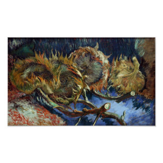 Van Gogh - Four Sunflowes gone to Seed Posters