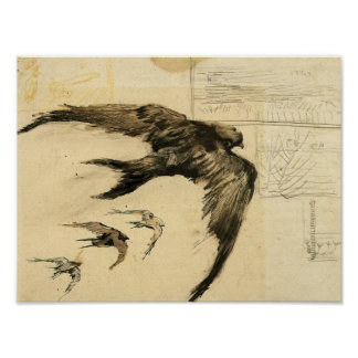 Van Gogh - Four Swifts with Landscape Sketches Poster