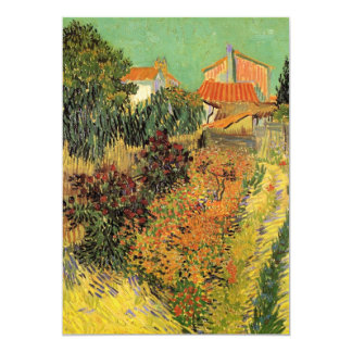 Van Gogh Garden Behind a House, Vintage Fine Art 13 Cm X 18 Cm Invitation Card