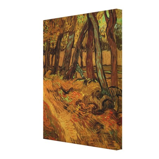 Van Gogh Garden of Saint Paul Hospital with Figure Stretched Canvas Print