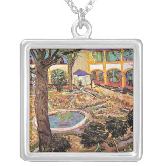 Van Gogh - Garden Of The Hospital In Arles Square Pendant Necklace