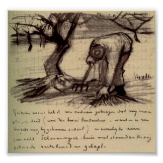 Van Gogh - Gardener near a Gnarled Apple Tree Posters