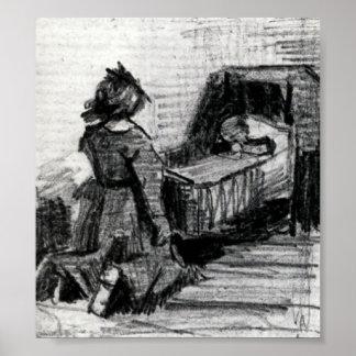 Van Gogh - Girl Kneeling in Front of a Cradle Poster
