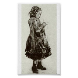 Van Gogh - Girl Standing, Knitting Posters