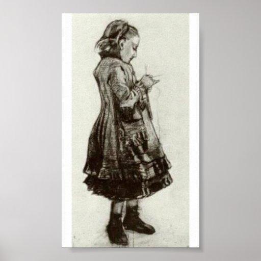 Van Gogh - Girl Standing, Knitting Posters