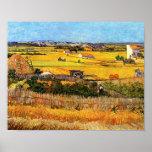 Van Gogh Harvest at La Crau Poster
