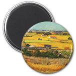 Van Gogh: Harvest at La Crau with Montmajour 6 Cm Round Magnet