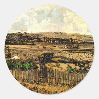 Van Gogh Harvest in Provence, Vintage Landscape Classic Round Sticker