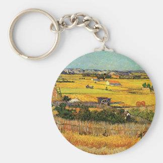 Van Gogh Harvest La Crau, Montmajour, Fine Art Key Ring