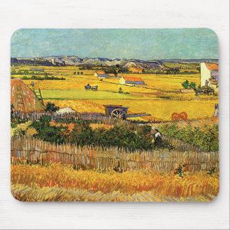 Van Gogh Harvest La Crau, Montmajour, Fine Art Mouse Mat
