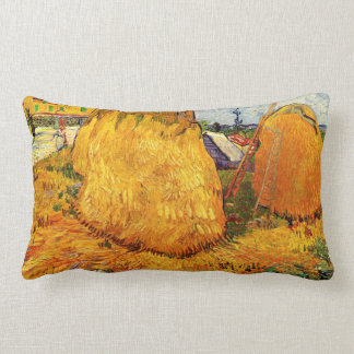 Van Gogh Haystacks in Provence, Vintage Fine Art Lumbar Cushion