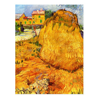 Van Gogh Haystacks in Provence, Vintage Fine Art Postcard