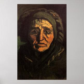 Van Gogh; Head of Peasant Woman, Greenish Lace Cap Poster