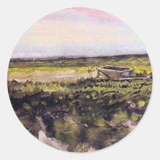 Van Gogh Heath with Wheelbarrow, Vintage Fine Art Round Sticker