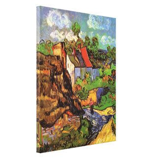 Van Gogh Houses in Auvers Vintage Country Cottages Stretched Canvas Prints