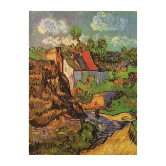 Van Gogh Houses in Auvers Vintage Country Cottages Wood Canvas