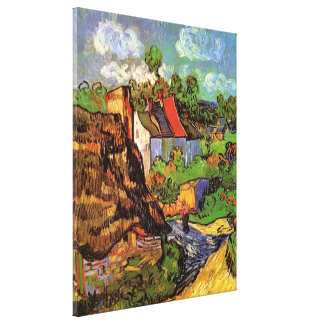 Van Gogh Houses in Auvers, Vintage Fine Art Stretched Canvas Prints