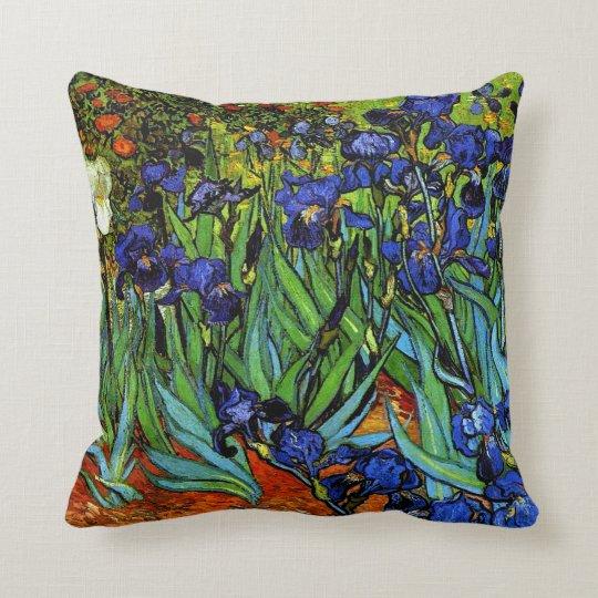 Van Gogh - Irises, 1889, artwork Throw Pillow