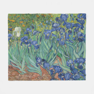 Van Gogh Irises Flower Garden Fleece Blanket