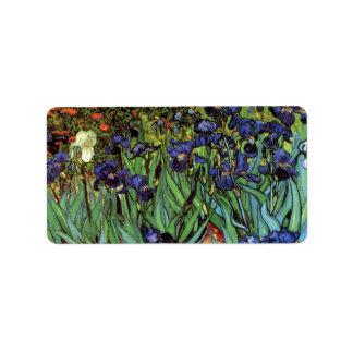 Van Gogh Irises, Vintage Garden Fine Art Address Label