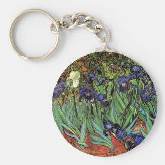 Van Gogh Irises, Vintage Garden Fine Art Basic Round Button Key Ring