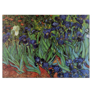 Van Gogh Irises, Vintage Garden Fine Art Cutting Board