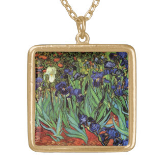 Van Gogh Irises, Vintage Garden Fine Art Gold Plated Necklace
