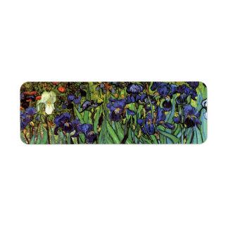 Van Gogh Irises, Vintage Garden Fine Art Return Address Label