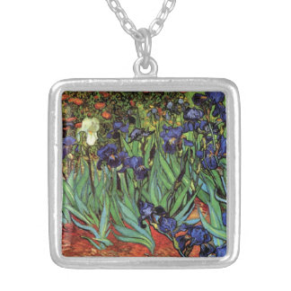 Van Gogh Irises, Vintage Garden Fine Art Silver Plated Necklace
