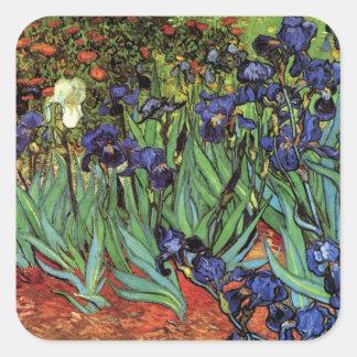 Van Gogh Irises, Vintage Garden Fine Art Square Sticker