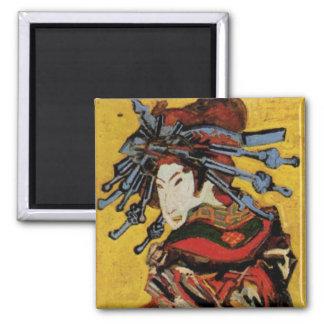 Van Gogh Japanese Courtesan Oiran Vintage Portrait Square Magnet